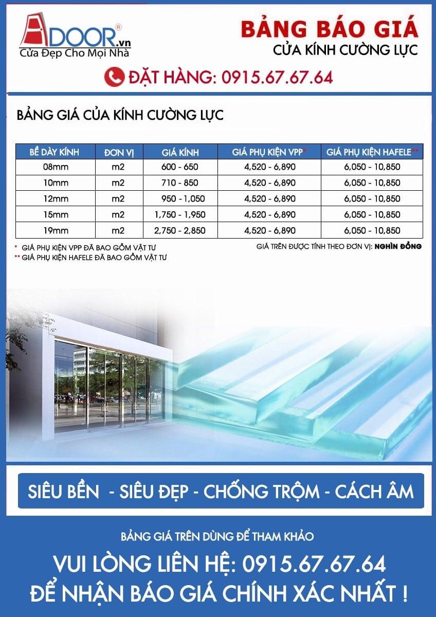 Bảng giá cửa kính cường lực đa dạng với bề dày cửa kính