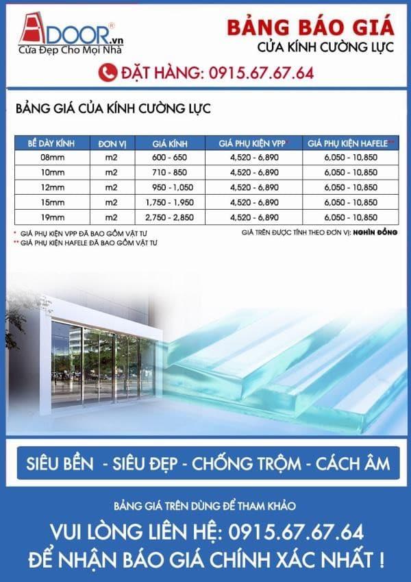 Bảng báo giá cửa kính cường lực theo độ dày cửa kính tại Adoor