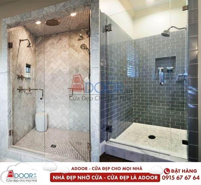 Mẫu phòng tắm độc đáo với cửa kính cường lực tại Huế