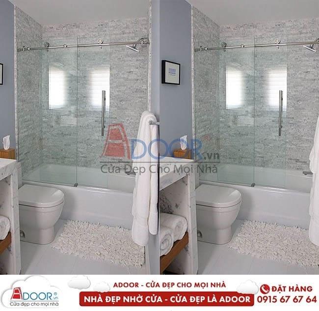Mẫu cửa kính cường lực mở trượt hiện đại tại phòng tắm hiện đại, mới nhất tại Adoor