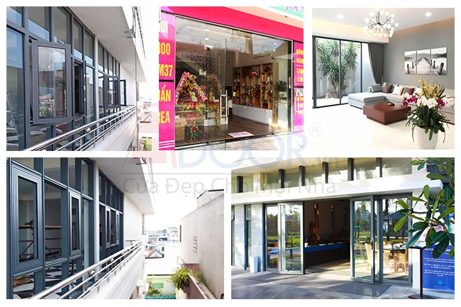 Mẫu cửa kính cường lực được thi công, lắp đặt tại các showroom, trung tâm thương mại, nhà hàng, khách sạn
