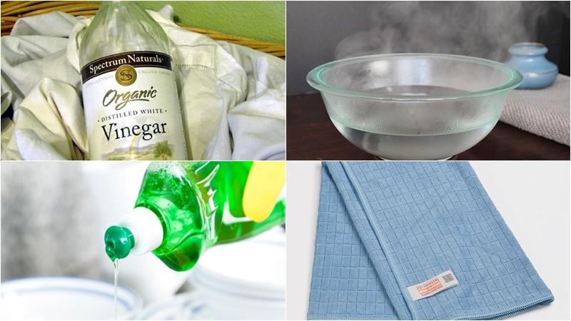 Làm sạch cửa kính bằng nước rửa chén và giấm ăn