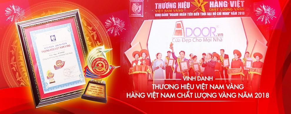 Thương hiệu Việt Nam Vàng cùng với Cửa kính cường lực Adoor