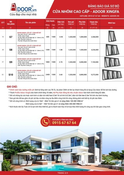 Bảng giá cửa Adoor Xingfa