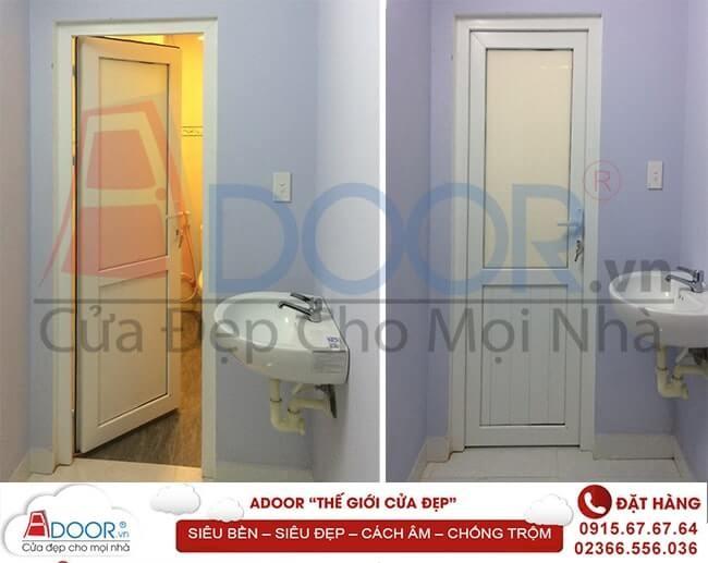 Mẫu cửa nhựa lõi thép tại nhà vệ sinh được sử dụng nhiều tại Adoor