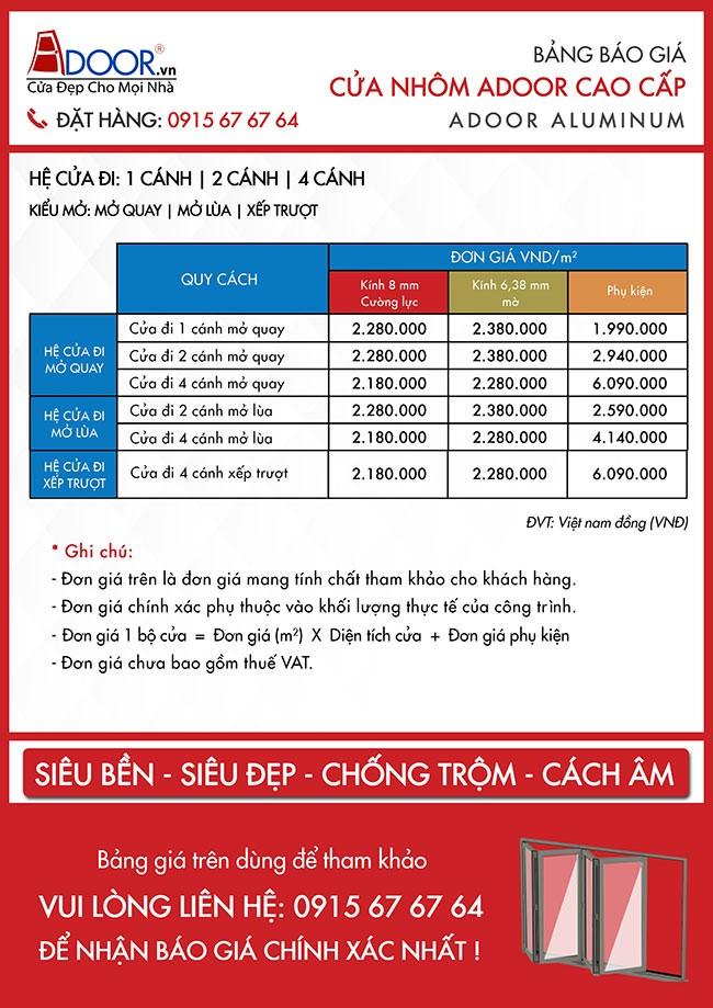Giá cửa nhôm Xingfa Adoor