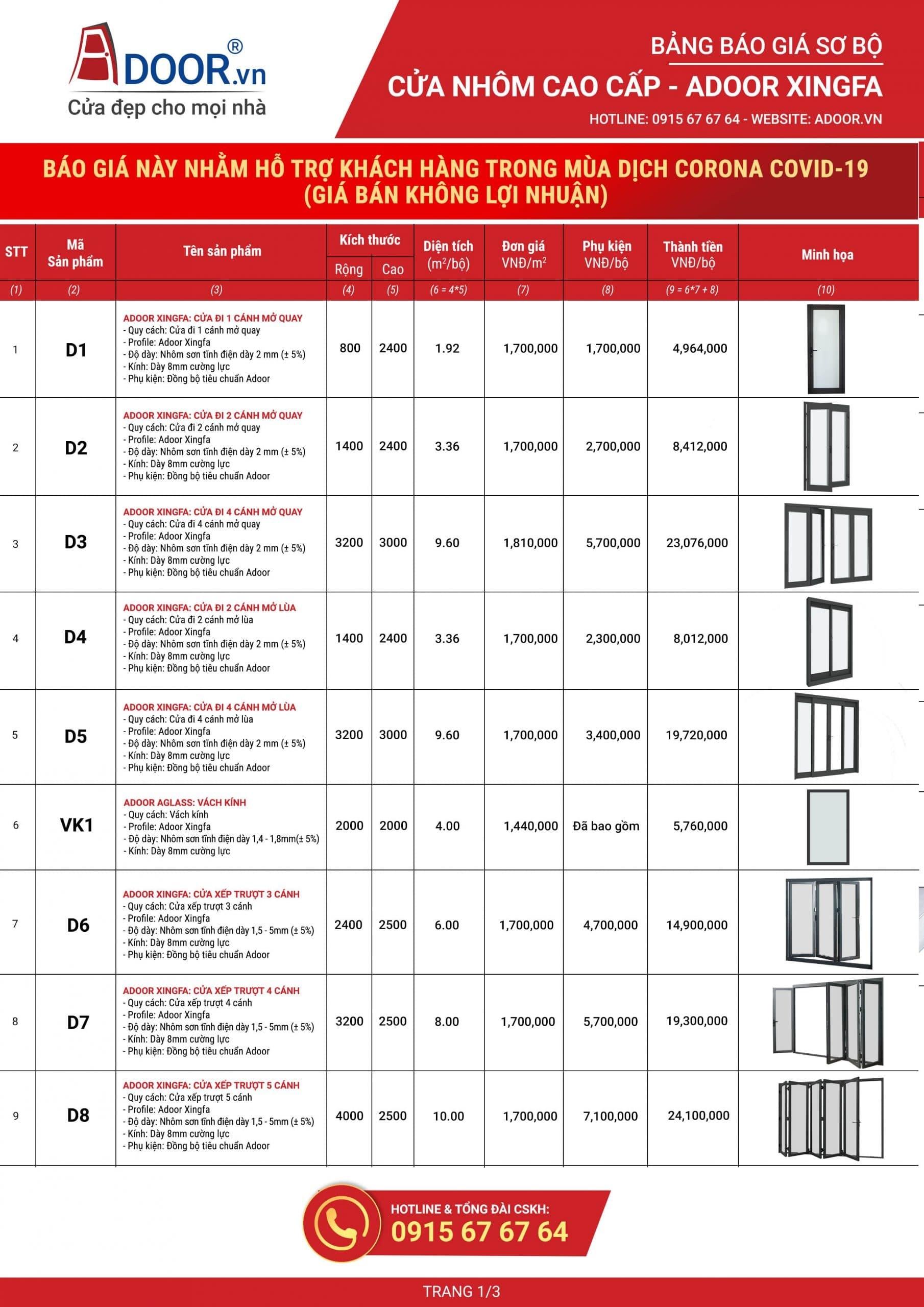 Bảng báo giá cửa nhôm Xingfa Nha Trang