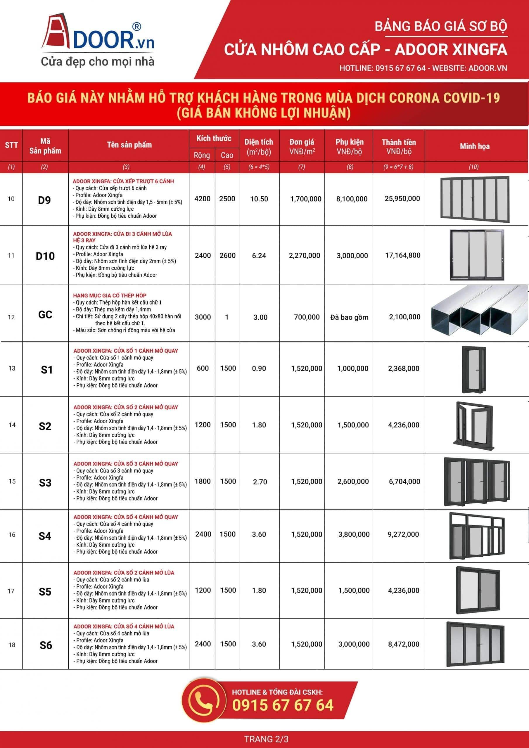 Bảng giá chi tiết về cửa nhôm Xingfa
