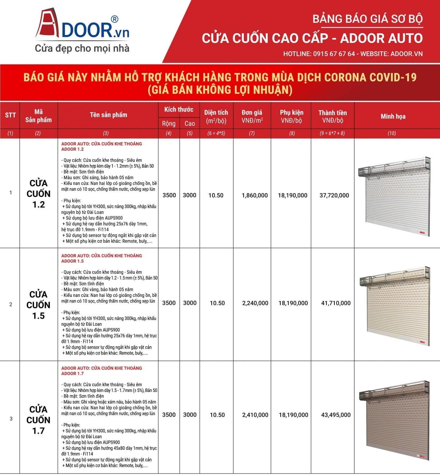 Bảng báo giá sản phẩm cửa cuốn Adoor 2020
