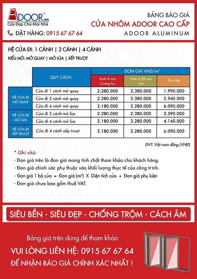 Bảng báo giá cửa nhôm Xingfa tại Đà Nẵng